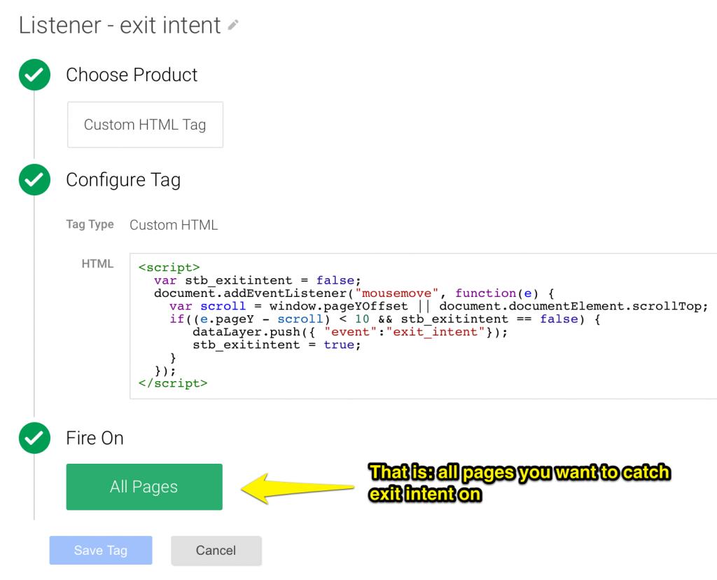 GTM exit intent listener tag